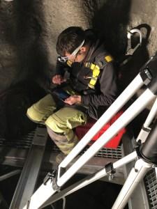 Förberedelse för laserskanning av ett djupt bergschakt till en gammal järnvägstunnel