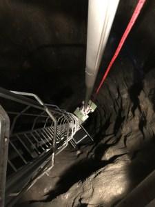 laserskanning av vertikalt schakt som är ca 40m djup